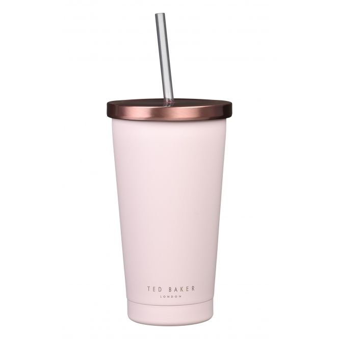 Ted Baker Womens Insulated Stainless Steel Tumbler with Straw - Pink Quartz