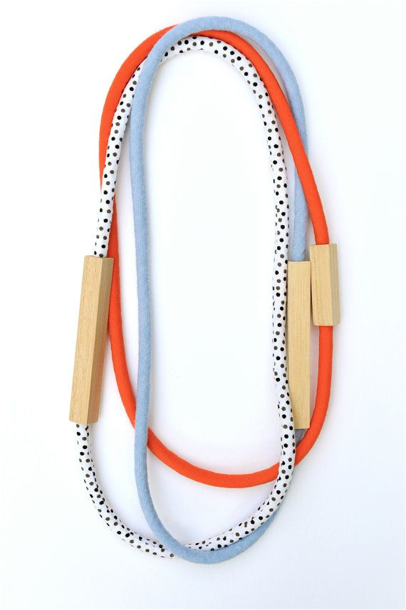 3 Piece - Wood and Fabric Necklaces in Red, Black and White Dots and Chambray Blue