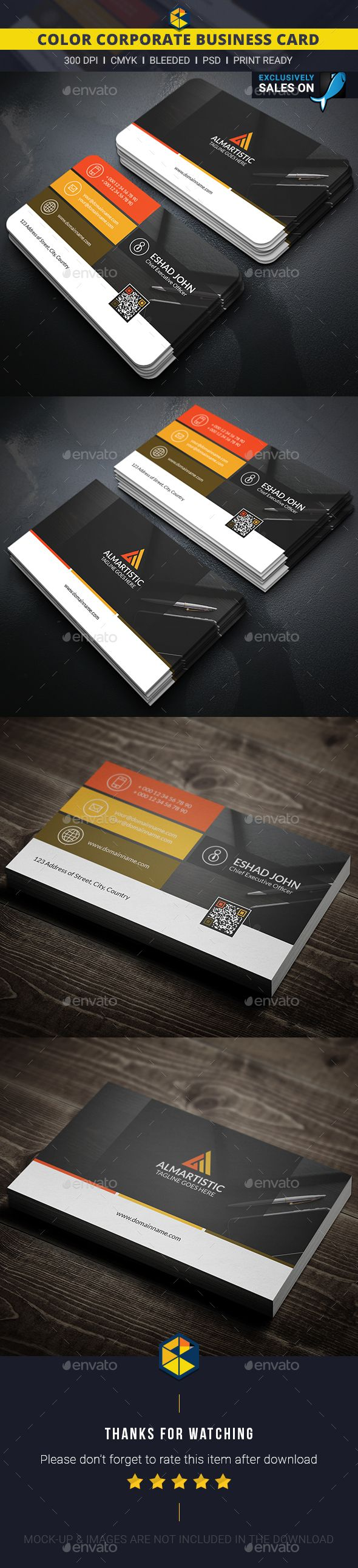 Color Corporate Business Card Template PSD #design Download: http://graphicriver.net/item/color-corporate-business-card/13416818?ref=ksioks