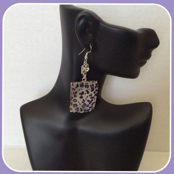Purple Animal Print Earrings Silver tone & Purple earrings with rhinestones Boutique Jewelry Earrings