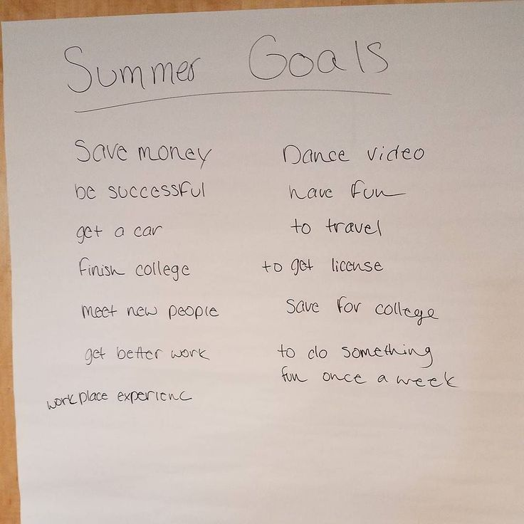 Summer Fund Youth Employment training this morning! Here is a list of the goals they came up with for this summer!  #summer #youth #summerfund #Youth Employment #summergoals #goals #trainings #orientation #learning