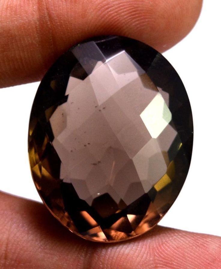 49ct VS Quality Big Natural Oval Cut Smokey Quartz Loose Gemstone For Pendant #krishnagemsnjewels
