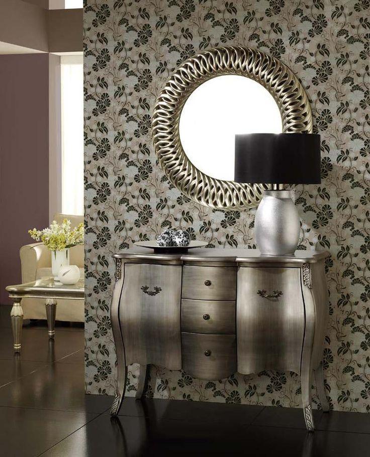 Espejo decorativo con marco de poliresina calado en color for Espejos con mesas decorativos