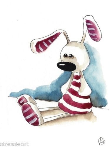 ACEO Original Watercolor Painting Folk Art Illustration Whimsical Candy Bunny | eBay