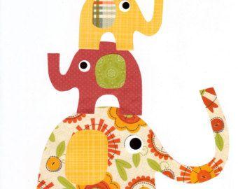 Giraffe Colorful Animal Nursery Artwork Print by 3000yardsofthread