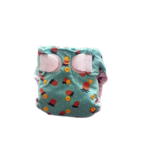 AI2 mosható pelenka - Ananász <------>  AI2 cloth diaper with Pineapple pattern. The waist can be fixed with hook and loop. It has laundry and crossover tabs too. We can set the size of the diapers with snaps. The upper middle two snaps made for protect the navel. The inner layer with absorbent core is attached to the diaper cover with snaps. Thanks for the prefold holders the extra insert won't slip away.  Size: Newborn - 10 kg