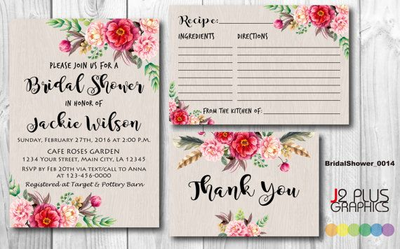 Adorable bridal shower invitation, recipe card, and thank you note