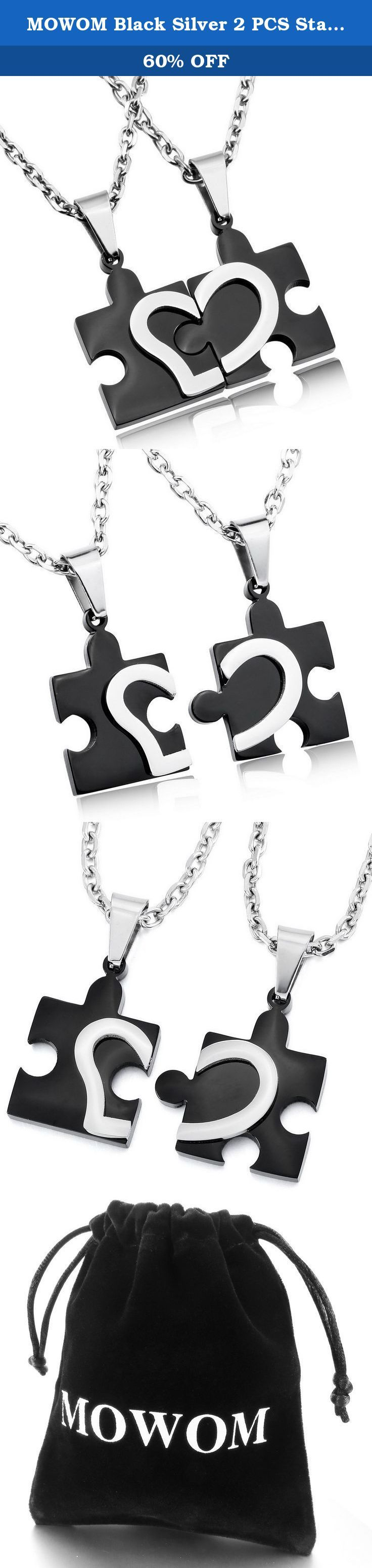 MOWOM Black Silver 2 PCS Stainless Steel Pendant Necklace Jigsaw Puzzle Heart Love Couples. Black Silver 2 PCS Stainless Steel Pendant Necklace Jigsaw Puzzle Heart Love Couples.