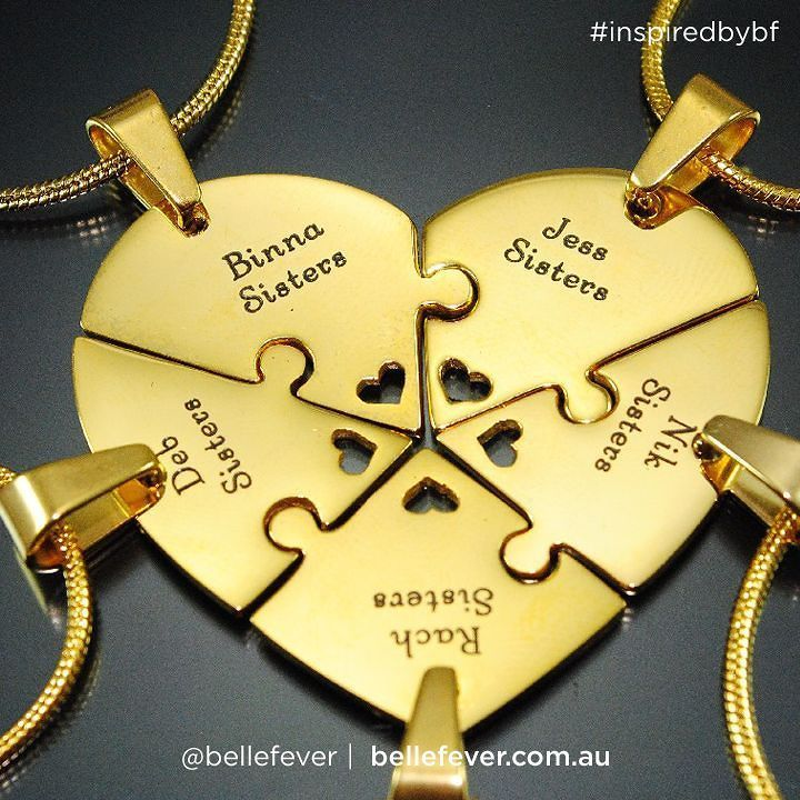 Some friends just fit together like puzzle pieces. The Heart Puzzle Necklace (penta- 5 piece) set are a perfect gift to connect loved ones or best of friends. Whether people who just love puzzles or two people that want to carry their friendship around with them this set will get the wearer noticed for all the right reasons. Personalise it with your names or special message to connect them and form a heart. #necklace Give Belle Fever this Christmas
