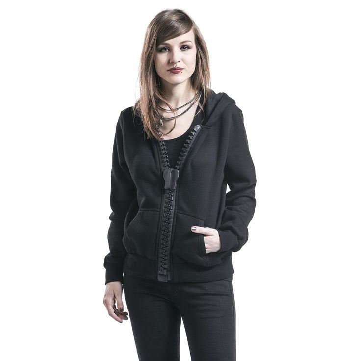 """Felpa donna """"Big Zipper Hoodie"""" del brand #Alcatraz nera dotata di cappuccio, ampia cerniera frontale e 2 tasche laterali."""