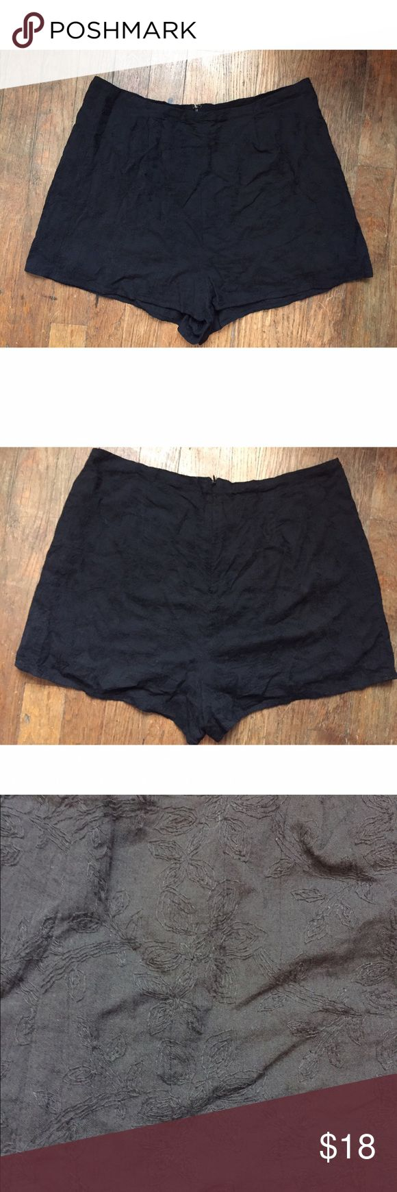 Urban Outfitters high waisted black shorts These are size 8, black, high waisted, Urban Outifitters cotton shorts! They have cool embroidered flowers everywhere on them. They are super comfy and looks great dressed down with a grey tee or dressed up with heels! Urban Outfitters Shorts Bermudas