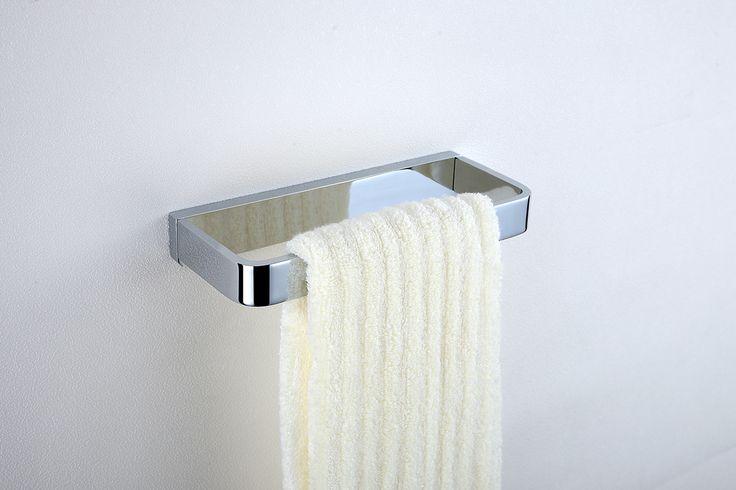 Modern Chrome Finish Solid Brass Single Towel Bar.