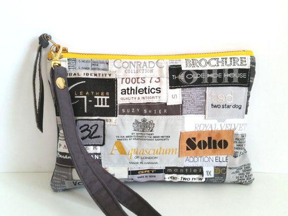 RECICLADO ropa etiqueta muñequera. Marcas de moda reciclada. Embrague cuero reciclado. Correa de muñeca extraíble.