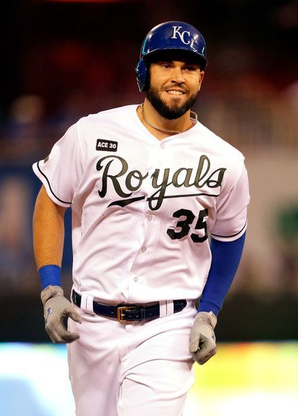 Eric Hosmer Photos Photos - Eric Hosmer #35 of the Kansas City Royals smiles as he rounds the bases after hittng a two-run home run in the 7th inning of the game against the Detroit Tigers at Kauffman Stadium on May 29, 2017 in Kansas City, Missouri. - Detroit Tigers v Kansas City Royals
