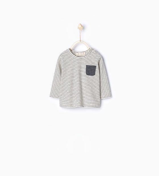 Image 2 of Striped T-shirt with pocket from Zara