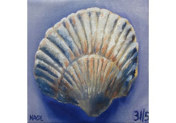 Seashell in Blue and Ochre May 2014 original oil by jonnagl, £60.00