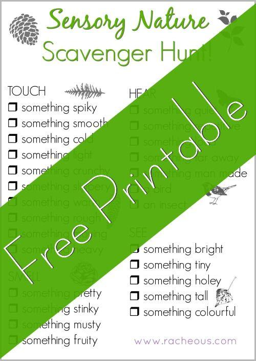 Sensory Nature Scavenger Hunt | Free Printable! - Racheous - Lovable Learning