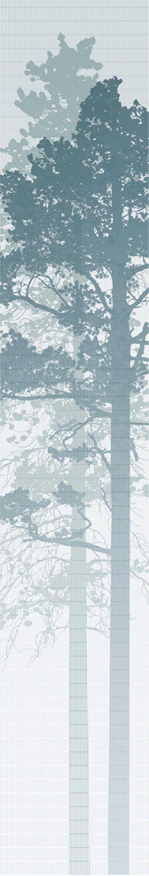Tapeter & Veggdekor : Panel Piece - Woodland - Blågrønn