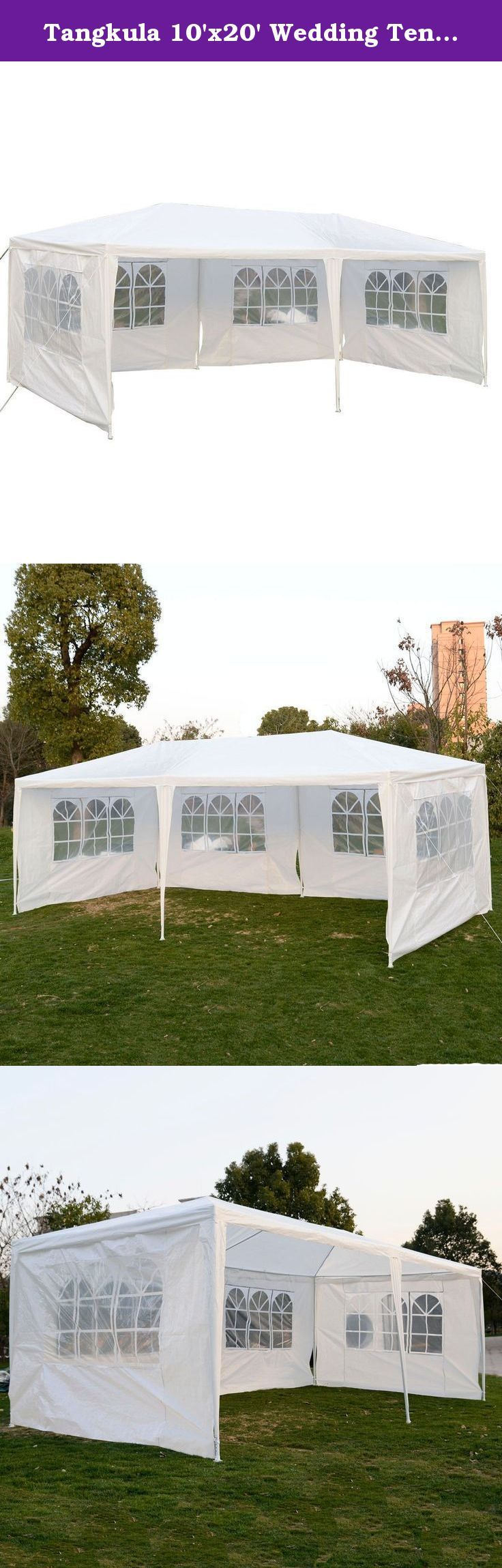 Tangkula 10'x20' Wedding Tent 4 Walls with Window BBQ Party Outdoor Canopy Tent White. Material: Polyethylene. Frame: White coated steel/PE joint fittings. Sidewalls: 4 Walls with Windows, White. Size: 10'x20'. Easy to assemble.