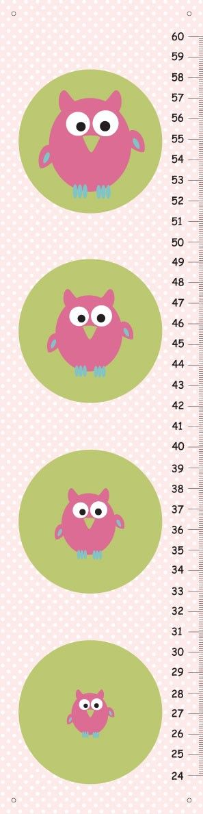 Personalized pink owls Growth Chart for girls by KidODesignStudio, $25.00
