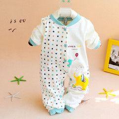 Весной и осенью новорожденных девочек восхождения на одежды Romper хлопка комбинезон осенью и зимой одежда мальчика 0-6 месяцев долгий подъем