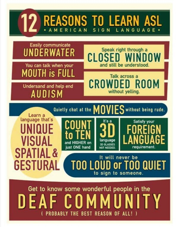 102 best asl and deaf culture images on pinterest deaf culture 12 reasons to learn asl poster for my classroom fandeluxe Choice Image