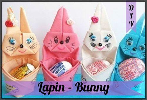 DIY Origami : Pliage de serviette : Lapin - Bunny