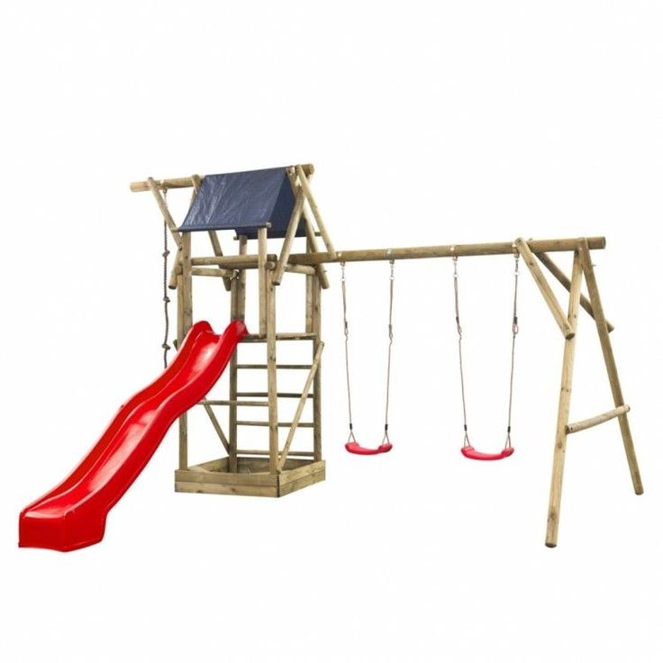 Kids Playhouse Set Ladder Slide Wooden Playground Children Blue Swing Rope Tower #KidsPlayhouseSet