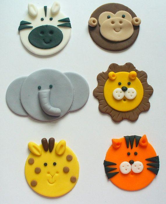 12 Edible Fondant Safari Jungle Zoo Animal Cupcake Toppers