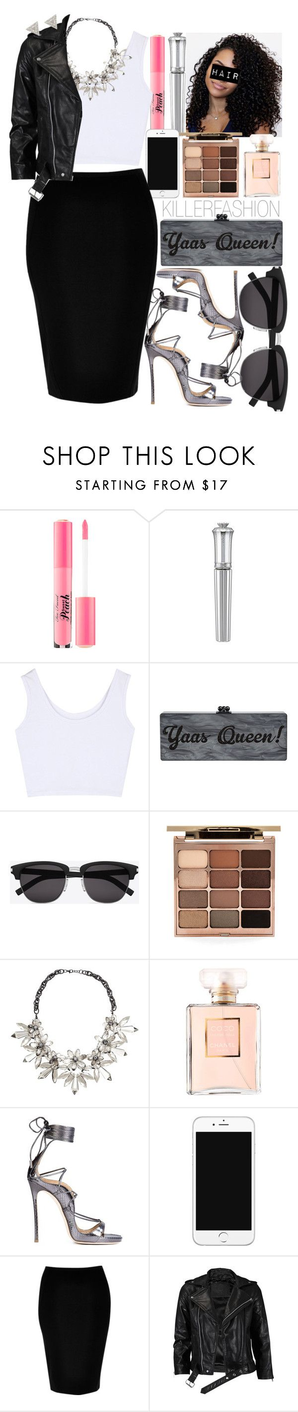 """'Tru' X Lloyd"" by killerfashion ❤ liked on Polyvore featuring Too Faced Cosmetics, Morgan Lane, Yves Saint Laurent, Stila, John Lewis, Chanel, Dsquared2, River Island, VIPARO and Lizzie Mandler"