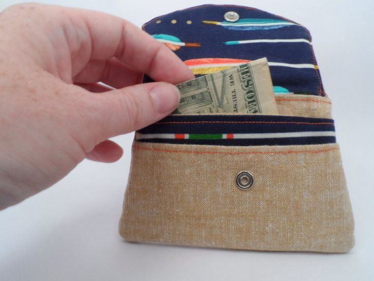 """Hidden message """"My aim is true"""" linen and cotton wallet    three pocket compartments, snap closure by BurroInteligente on Etsy"""