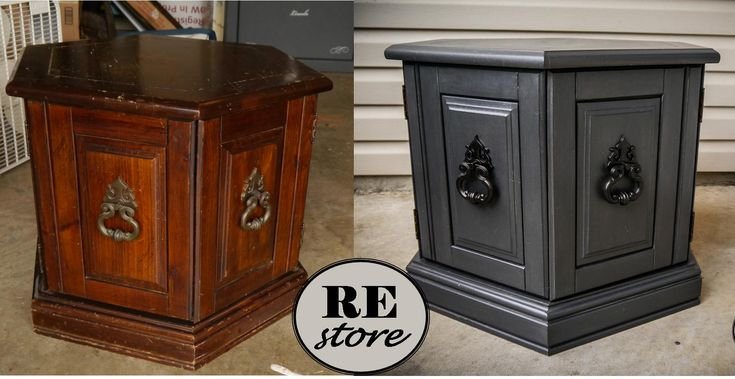 Solid wood, hexagon-shaped accent table was in rough shape, but now it shines with some work and a new Faux Zinc paint finish along with darker pulls on the doors. Visit: www.facebook.com/REstoretkeithMaumelle