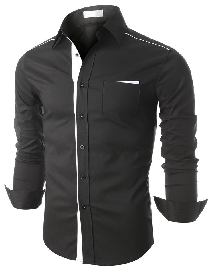 Doublju Mens Contrast Trimmed Button Down Dress Shrit (KMTSTL0161) #doublju