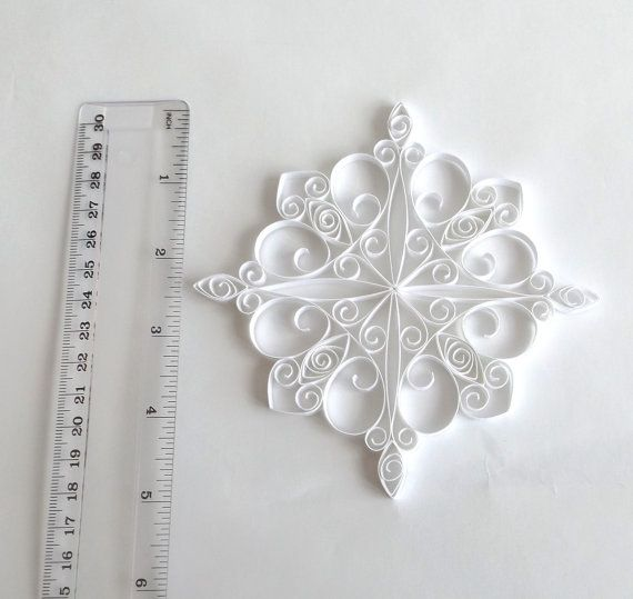 White Paper Snowflake 5.1in Paper Quilled Snowflake by ElinaQuills
