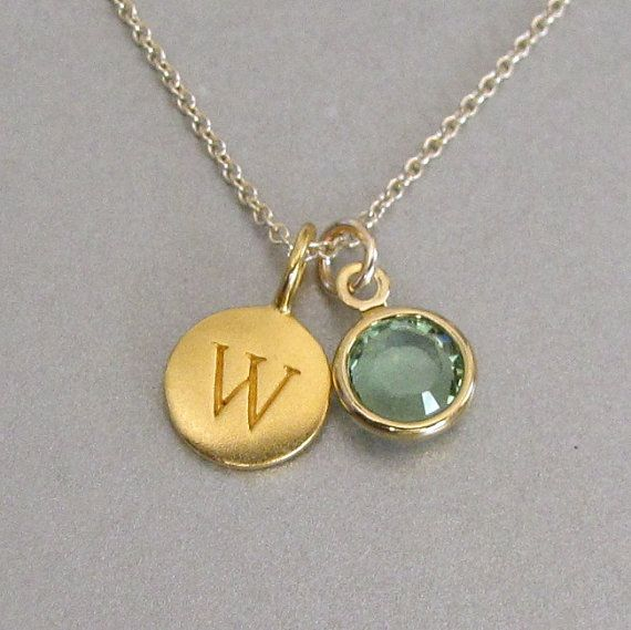 Gold Initial & Birthstone Charm Necklace  door tangerinejewelryshop, $47.00