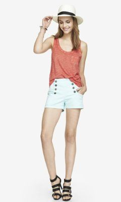 2 1/2 INCH PALE BLUE HIGH WAISTED SAILOR SHORTS from EXPRESS