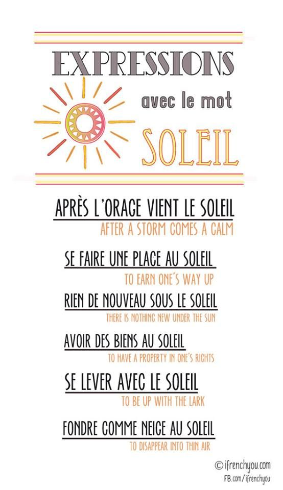 expressions avec le mot soleil/expressions with the word sun