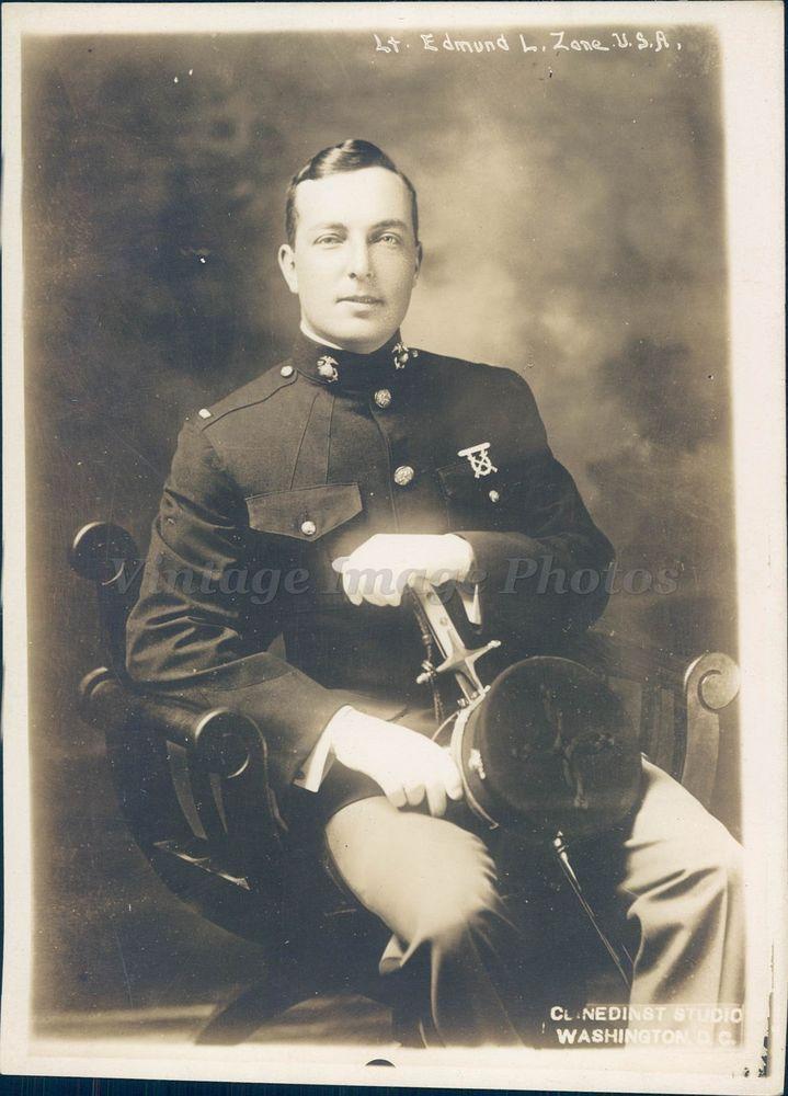 1918 Photo Military Edmund Zane Lieutenant US Marine Uniform Original Portrait