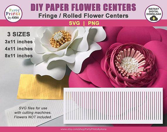 Svg Pompom Paper Flower Centers Rolled Fringe Stamen Paper