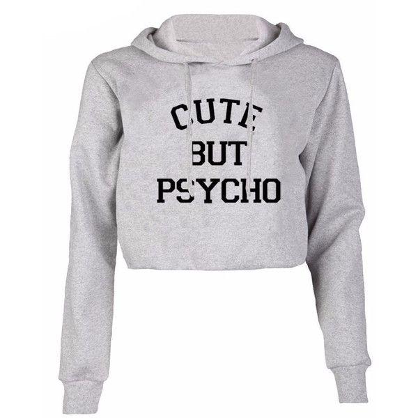 Cute but psycho cropped hoodie (£87) ❤ liked on Polyvore featuring tops, hoodies, pullover hoodie, hoodie pullover, cropped hoodie, cropped hoodies and pullover hoodies
