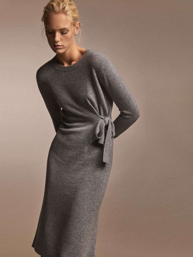 Fall Winter 2017 Women´s 100% CASHMERE DRESS WITH SIDE BOW DETAIL at Massimo Dutti for 345. Effortless elegance!