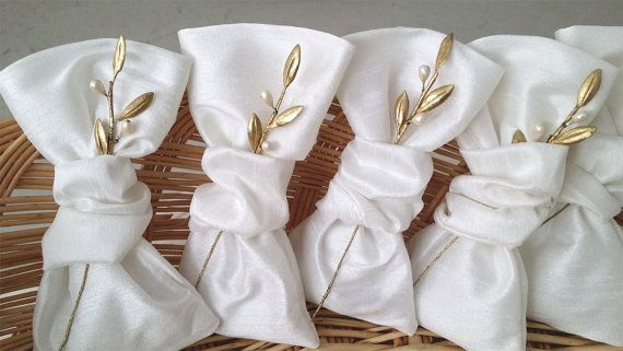 Wedding favor bags silk and olive leaves by XanthiannaCreations, €70.00