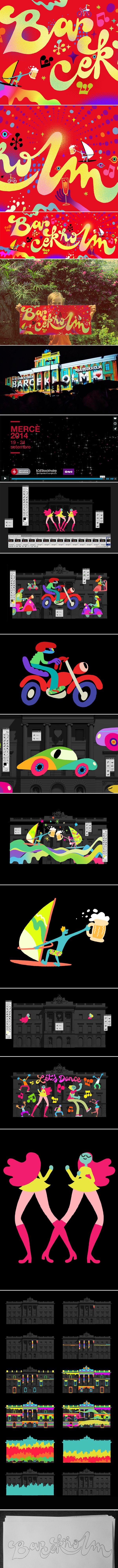 Ilustraciones para una de las animaciones que forman parte de las proyecciones sobre el ayuntamiento de Barcelona y el edificio de Asuntos Exteriores de Estocolmo, durante las Fiestas de La Mercè 2014.Este evento une en una sola animación a ilustradores …. MISTER ED