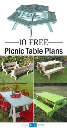 10 FREE Picnic Table Plans -Use these free picnic table plans and create a beautiful table for your backyard, patio, or any other place around your home where you need seating.