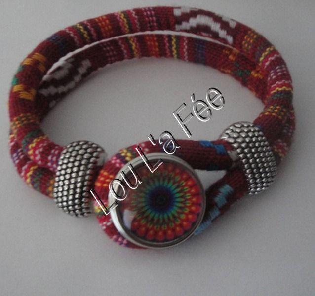 bracelet bouton-pression ethnique multicolore et sa pression mandala : Bracelet par lou-l-a-fee-creations-bijoux-fantaisie