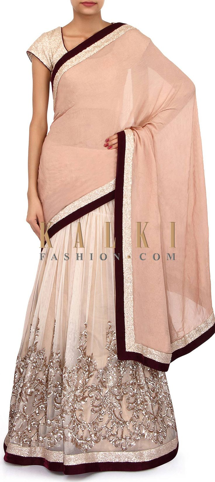 Buy Online from the link below. We ship worldwide (Free Shipping over US$100). Product SKU - 272051. Product Link - http://www.kalkifashion.com/half-and-half-lehenga-saree-in-brown-adorn-in-sequin-embroidery-only-on-kalki.html