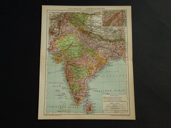 Carte ancienne Inde Inde 1903 détaillée par VintageOldMaps sur Etsy