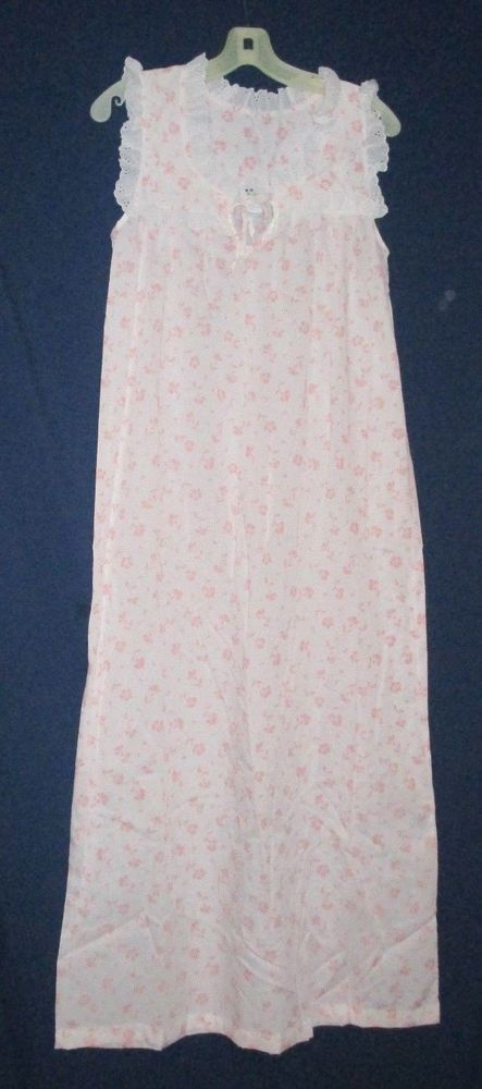 Women's S vintage long sleeveless nightgown woven cotton blend Violette NWOT #Violette #Gowns #Everyday