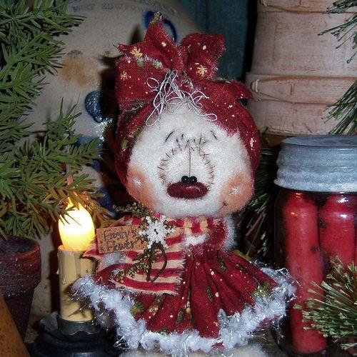 Primitive-Raggedy-Ann-Christmas-Snowman-Frosty-6-Snow-Girl-Doll-Pattis-Ratties