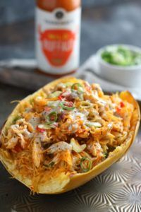 Buffalo Chicken Stuffed Spaghetti Squash - it was good but I don't know why you need a recipe for this. The only thing done in the IP in this recipe was cook the plain chicken. I seasoned up the chicken even though the recipe didn't call for that. I also referred to another recipe to cook the spaghetti squash in the IP and just assembled it in a bowl, melted a slice of provolone cheese on top, and added a dallop of ranch dressing.